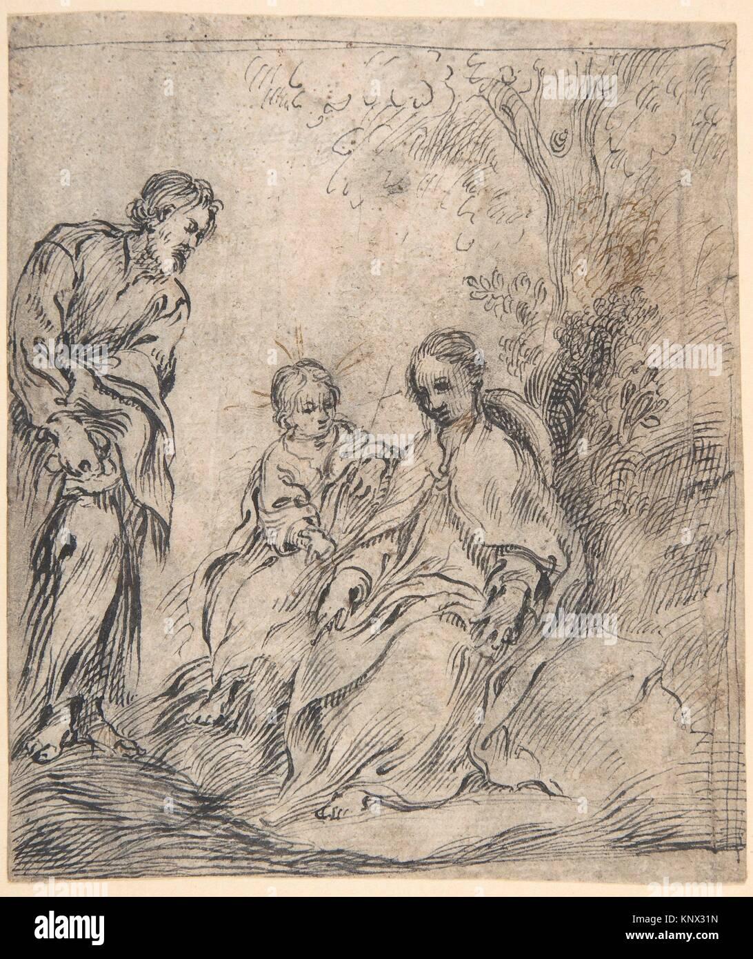 Die Jugendliche Täufer mit seinen Eltern. Artist:, Antonio del Castillo y Saavedra (Spanisch, Cordoba Cordoba Stockbild