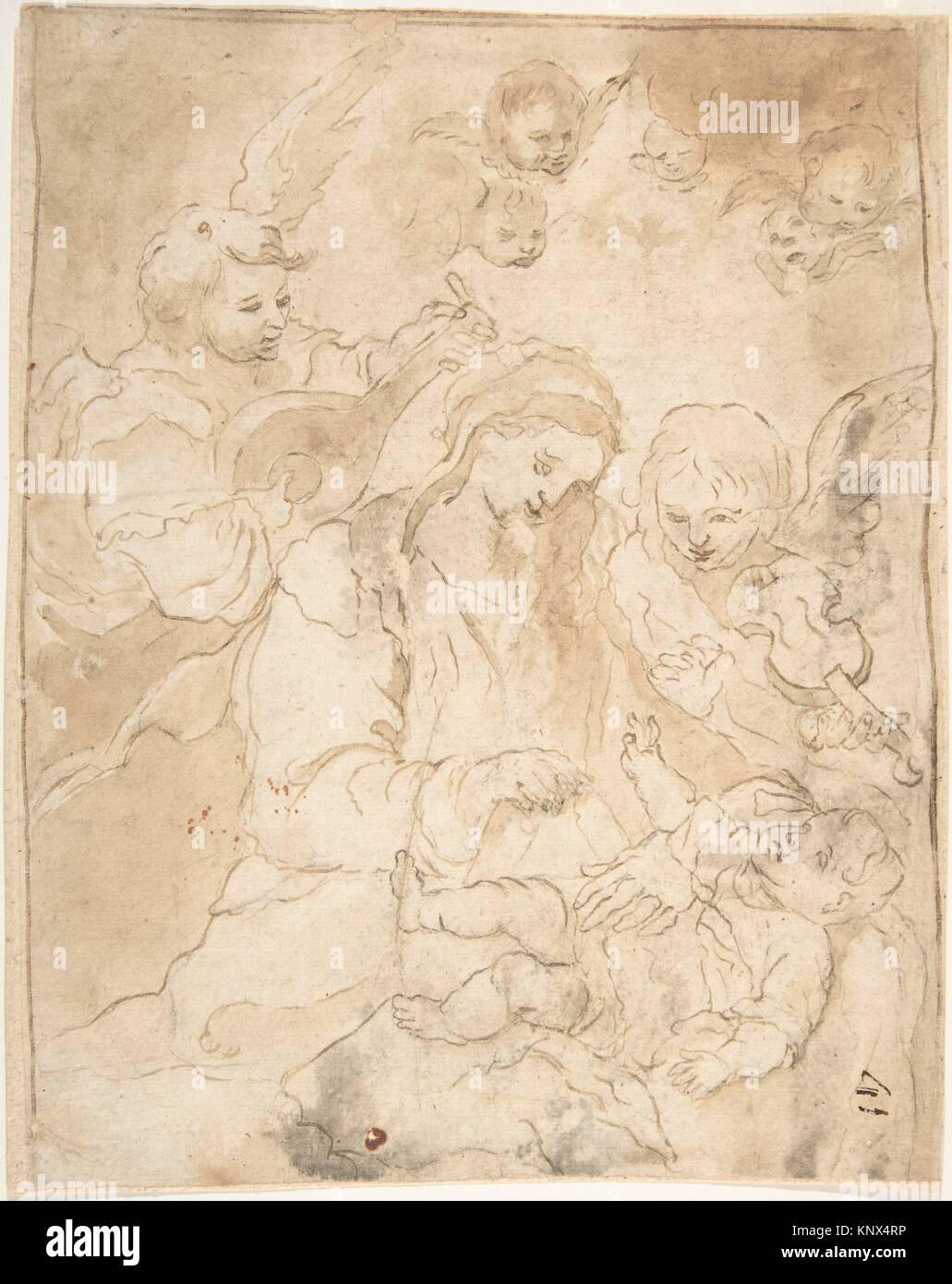 Madonna und Kind mit Engeln spielen Laute und Viola da braccio. Artist: Anonyme, Spanisch, Schule von Sevilla, 17. Stockbild