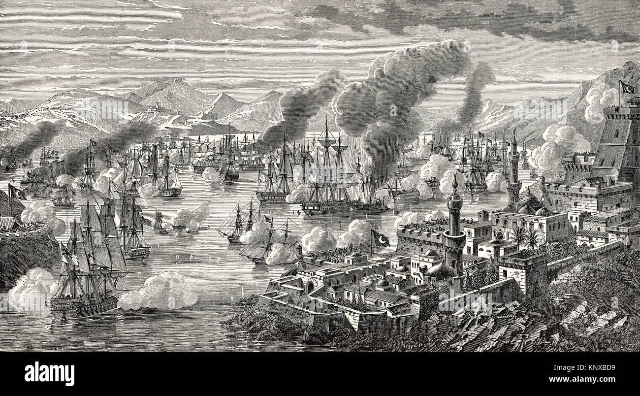 Die Schlacht von Navarino am 20. Oktober 1827, während des griechischen Unabhängigkeitskrieg Stockbild