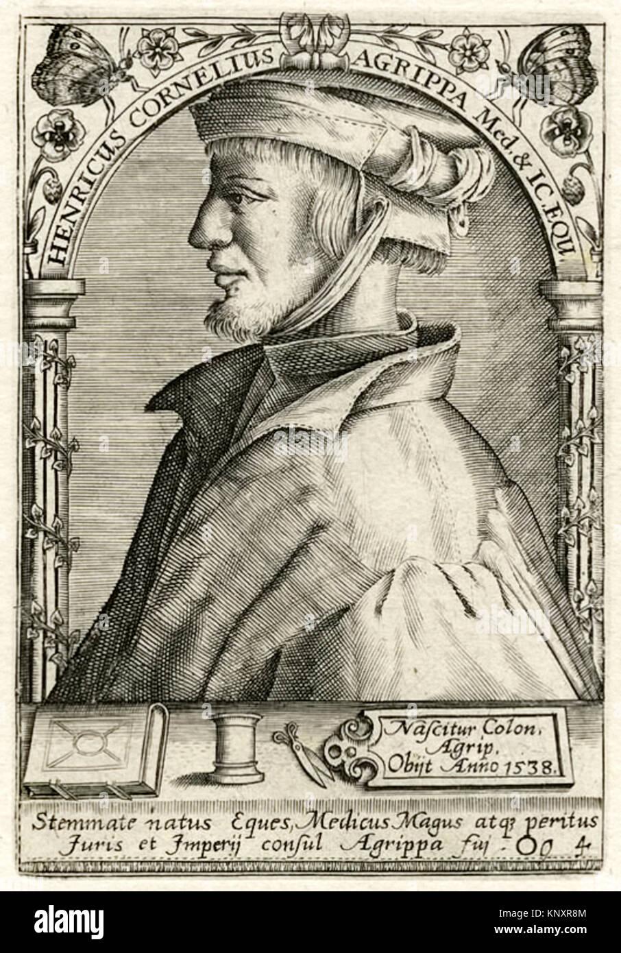 Henricus Cornelius Agrippa Med. & IC. EQU. Stemmate natus Ee, Medicus Magus atqy peritus Furis et Imperij. Konsul Stockbild