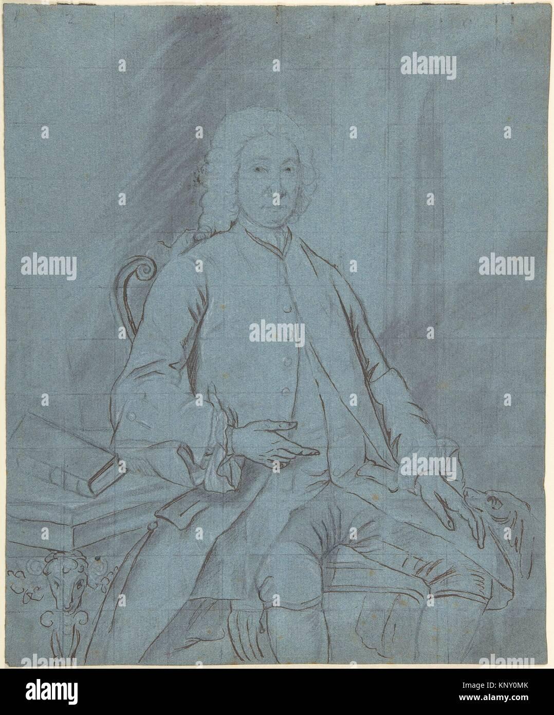 Three-Quarters - Länge Porträt Studie über ein Mann sitzt an einem Schreibtisch mit einem Hund. Artist: Stockbild