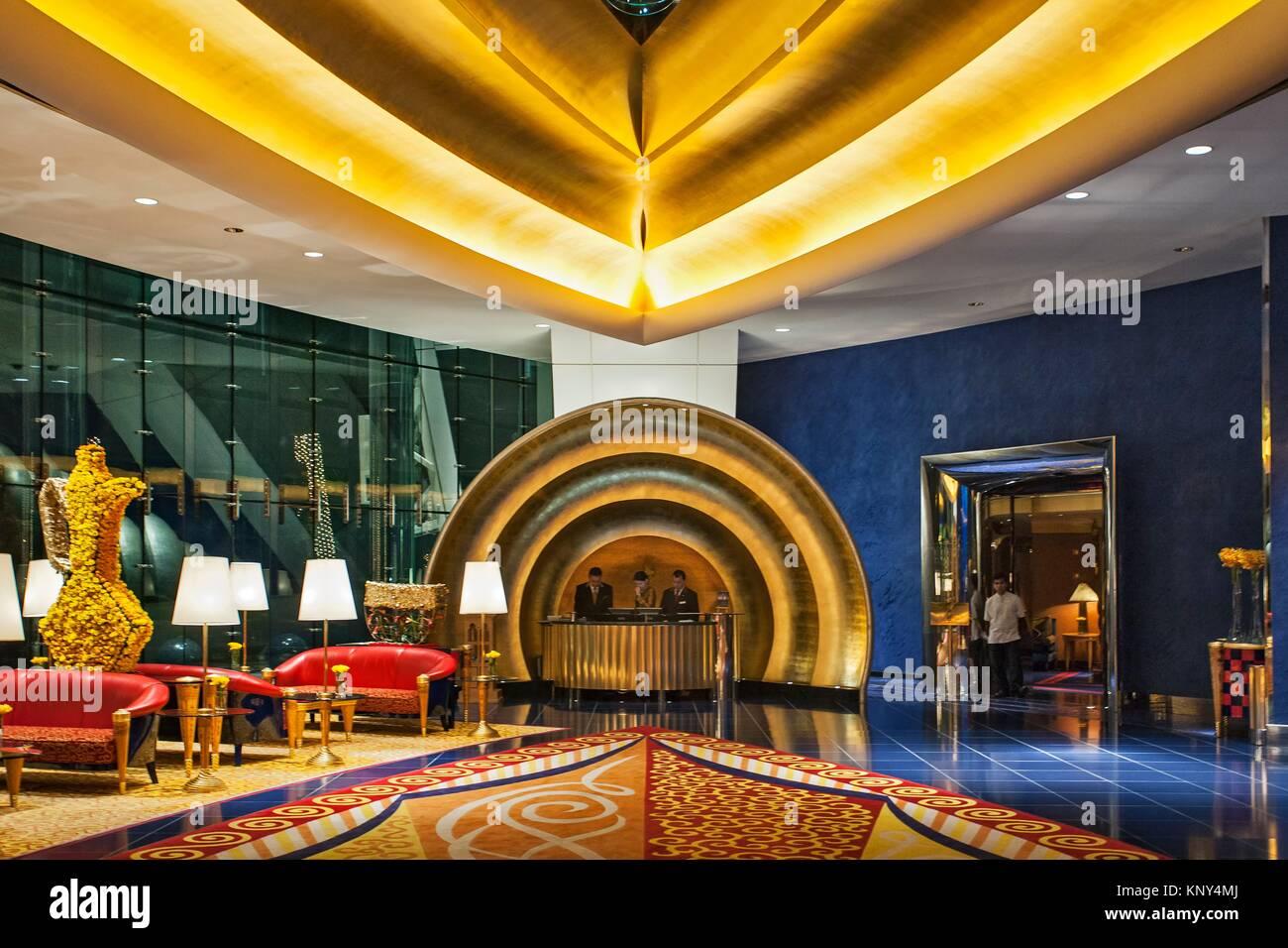 Lobby Und Rezeption Der Luxuriösen 7 Sterne Hotel Burj Al Arab Von
