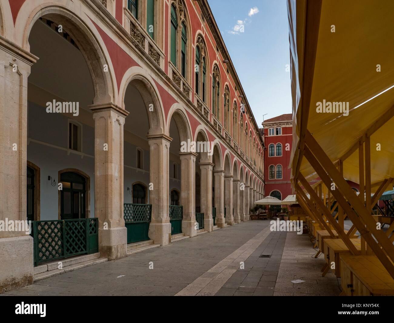 Split Kroatien Markt Altstadt. Stockbild