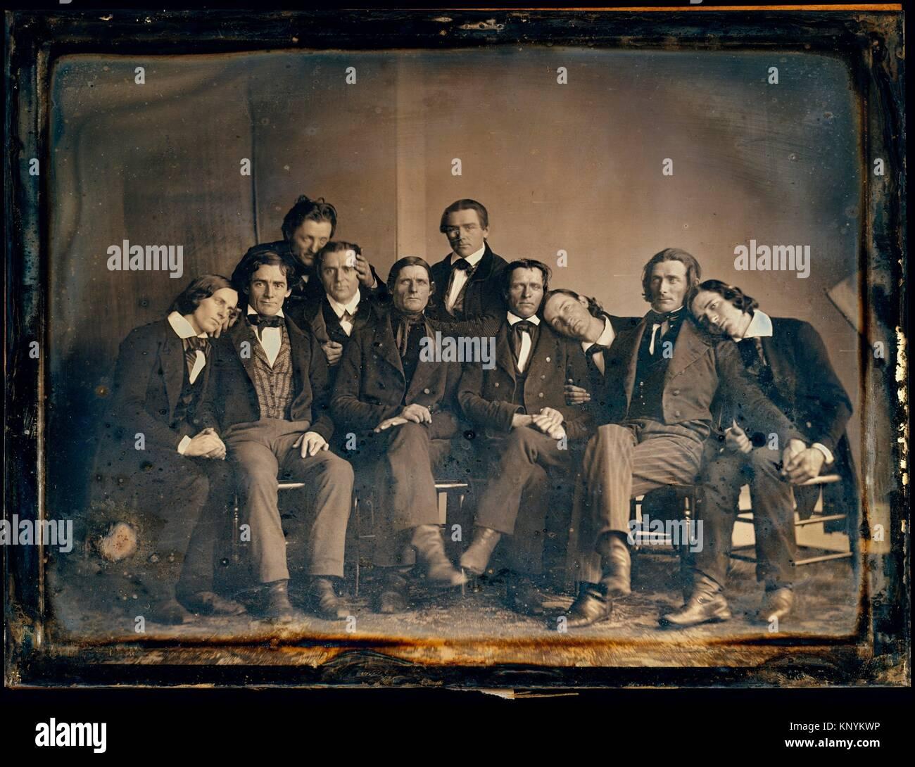 [Hutchinson Familie Sänger]. Artist: Unbekannt; Datum: 1845; Medium: daguerreotypie; Abmessungen: Bild: 14,4 Stockbild