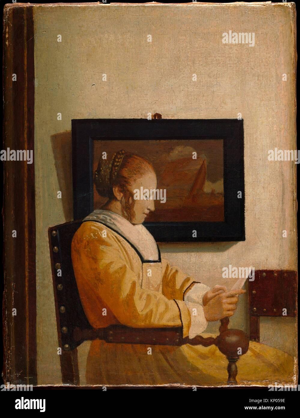 Eine junge Frau liest. Artist: Imitator von Johannes Vermeer (Ca. 1925-27); Medium: Öl auf Leinwand; Abmessungen: Stockbild