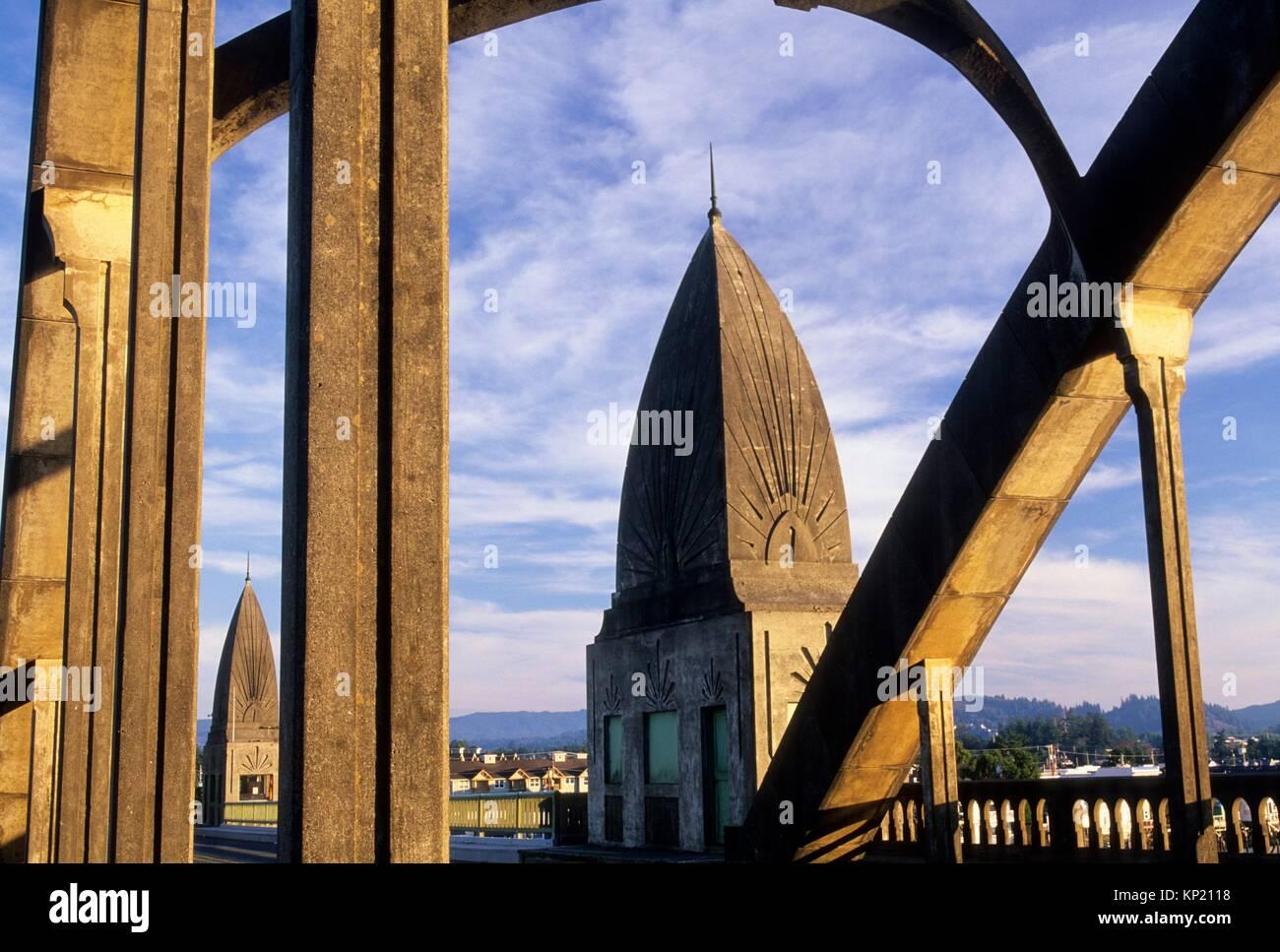 Siuslaw River Bridge, Florence, Oregon. Stockbild