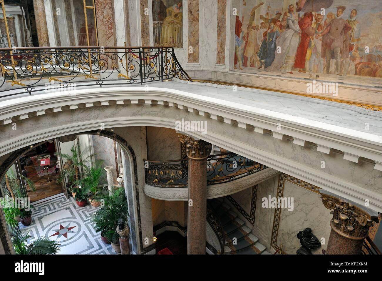 Der Wintergarten et die Treppe des Jacquemart-Andre Museum, Eigentum des Institut de France, 8. Arrondissement, Stockbild