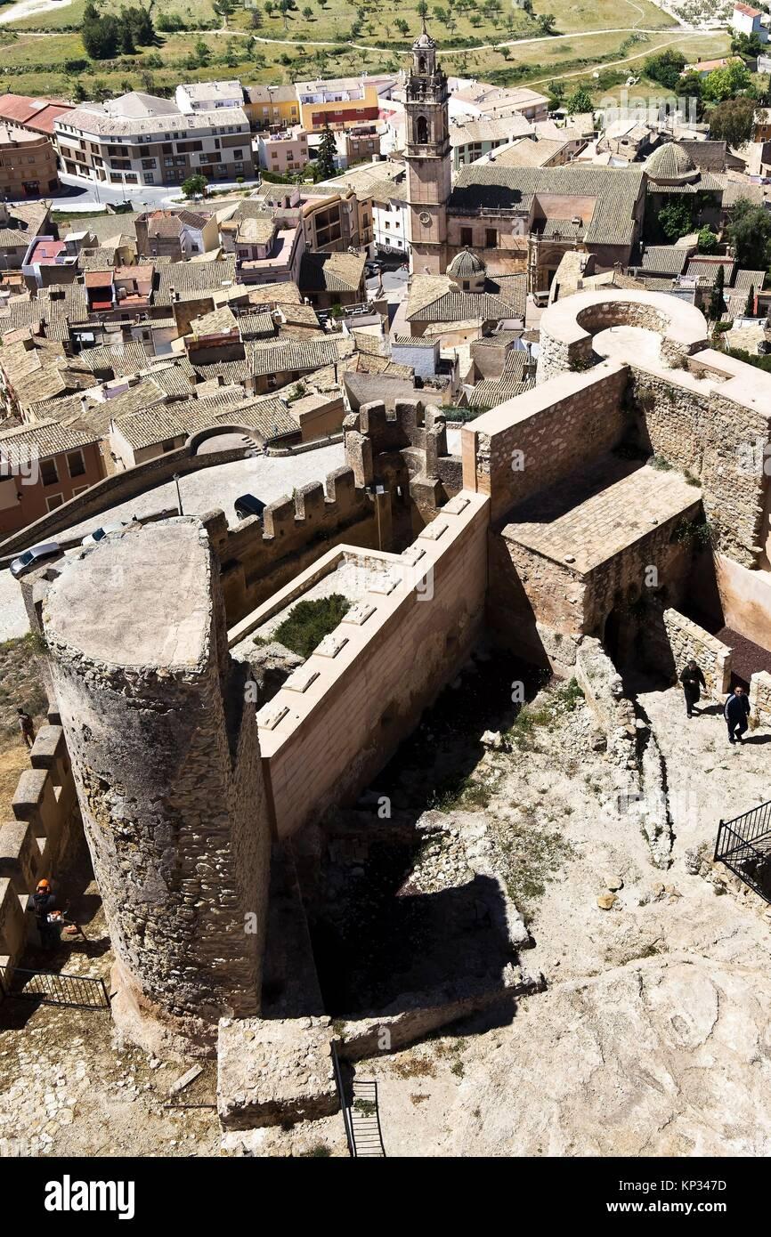 Castillo de Biar. Comarca del Alto Vinalopó. Alicante. Comunidad Valenciana. España. Europa. Stockbild