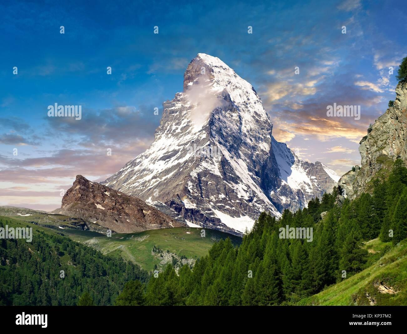 Das Matterhorn oder Monte Cervino Berg, Zermatt, Schweiz. Stockbild
