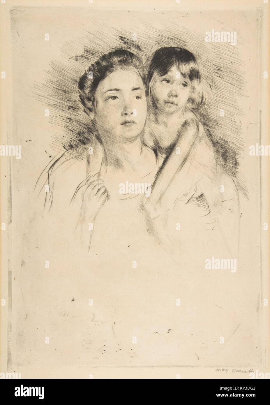 Denise hält Ihr Kind durch beide Hände MET DP 815273 377467 Künstler: Mary Cassatt, Amerikanische, Stockbild
