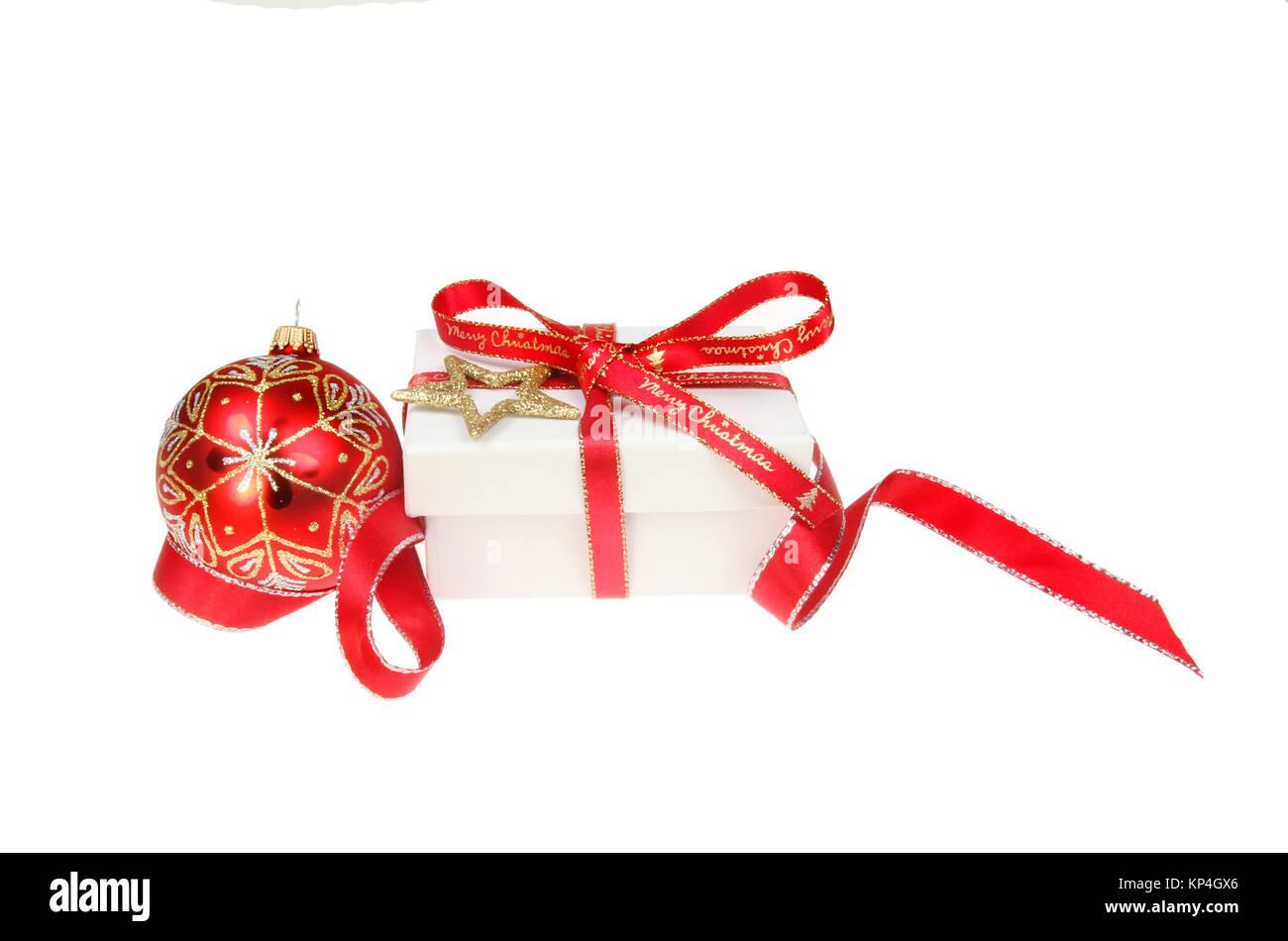 Frohe Weihnachten Band.Weihnachten Dekoration Gebunden Mit Frohe Weihnachten Band Umgeben