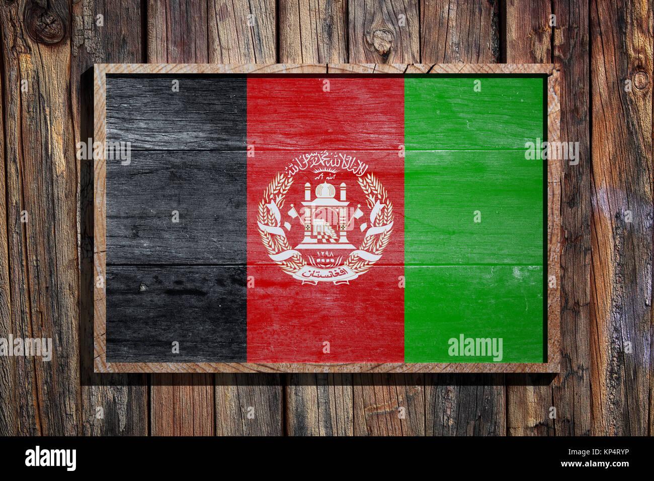 3D-Rendering von Afghanistan Flagge auf einem Holzrahmen über einen ...