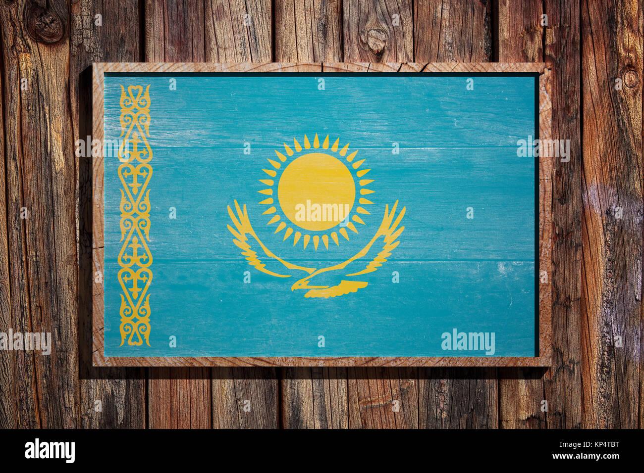 3D-Rendering von Kasachstan Flagge auf einem Holzrahmen über einen ...