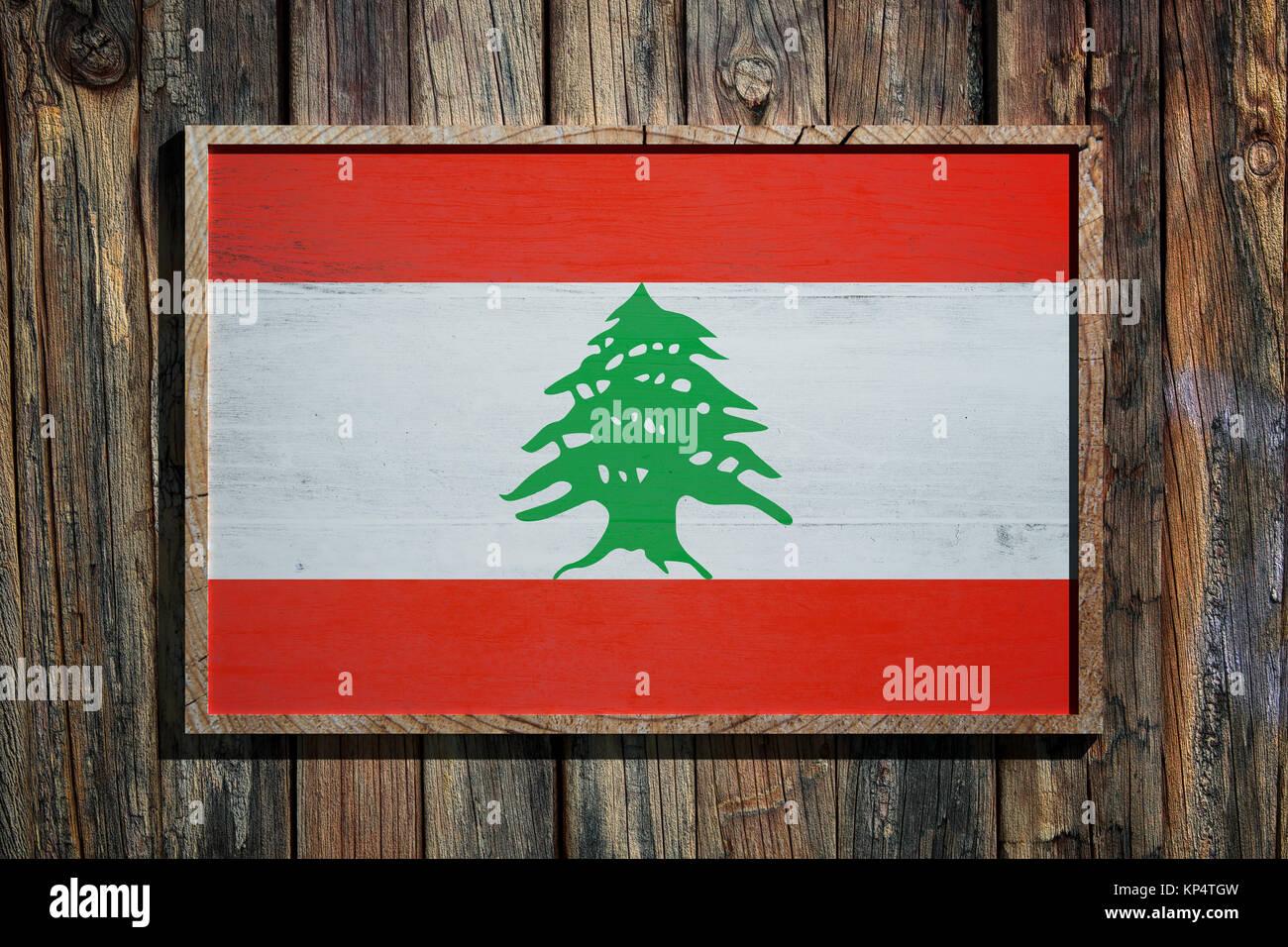 3D-Rendering des Libanon Flagge auf einem Holzrahmen über einen ...