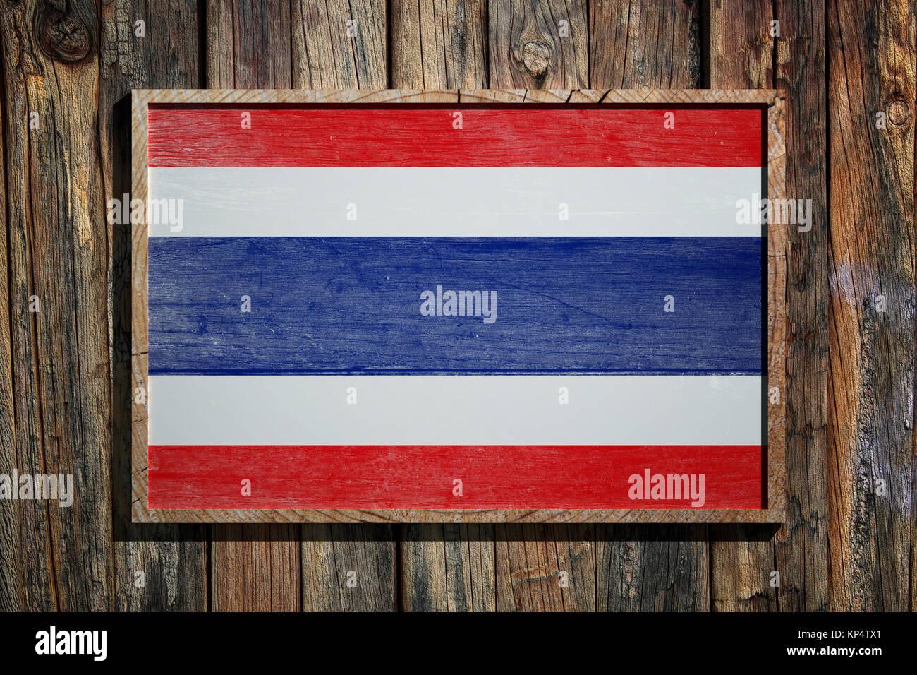 3D-Rendering von Thailand Flagge auf einem Holzrahmen über einen ...