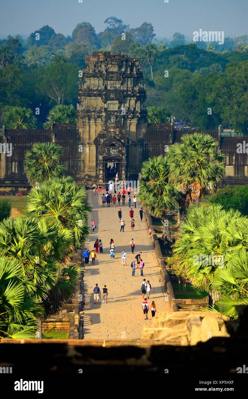 Tempel Angkor Wat, Kambodscha, Indochina, Südostasien, Asien. Stockbild
