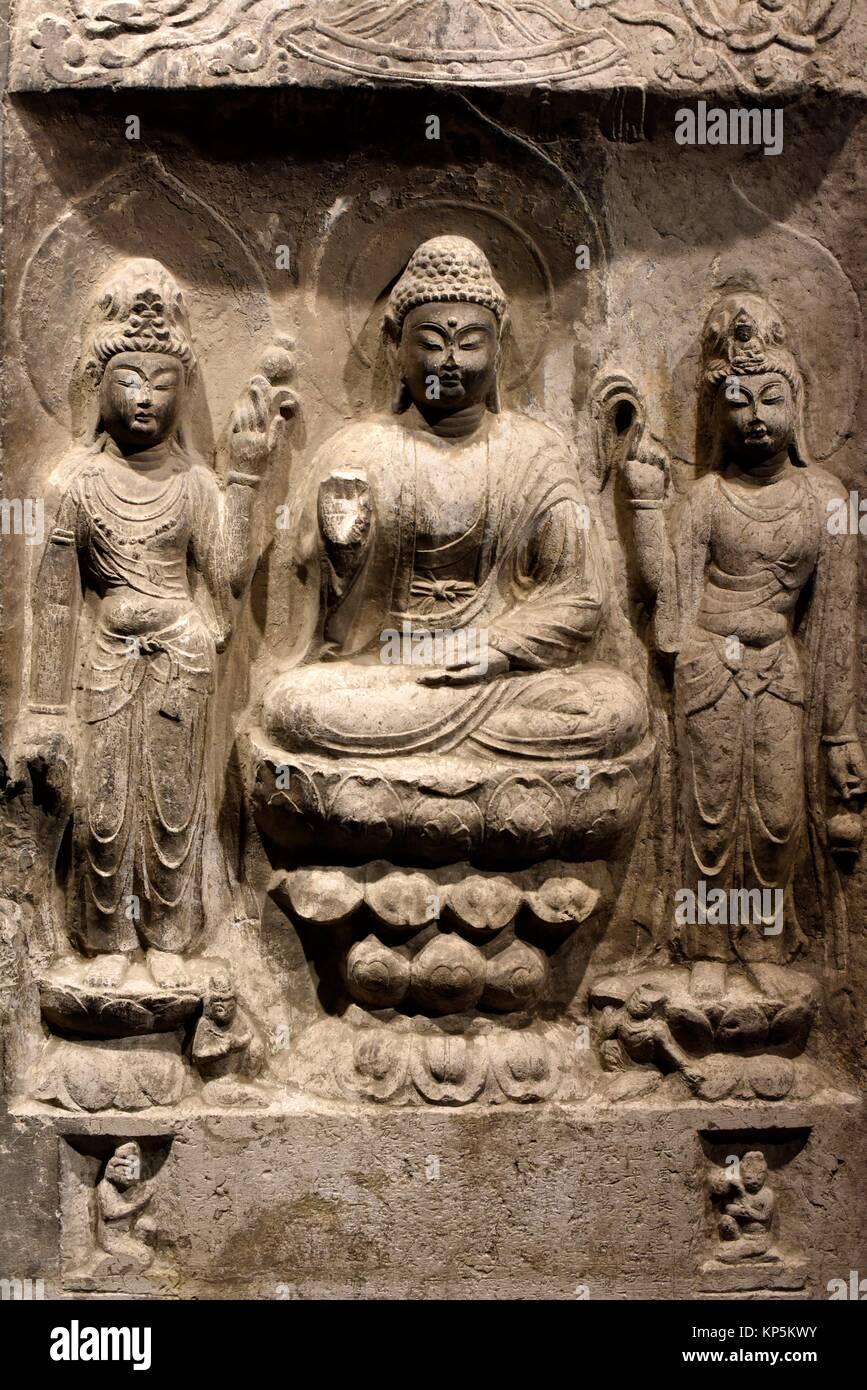 Buddha Relief im National Museum, Tokyo, Japan, Asien. Stockbild