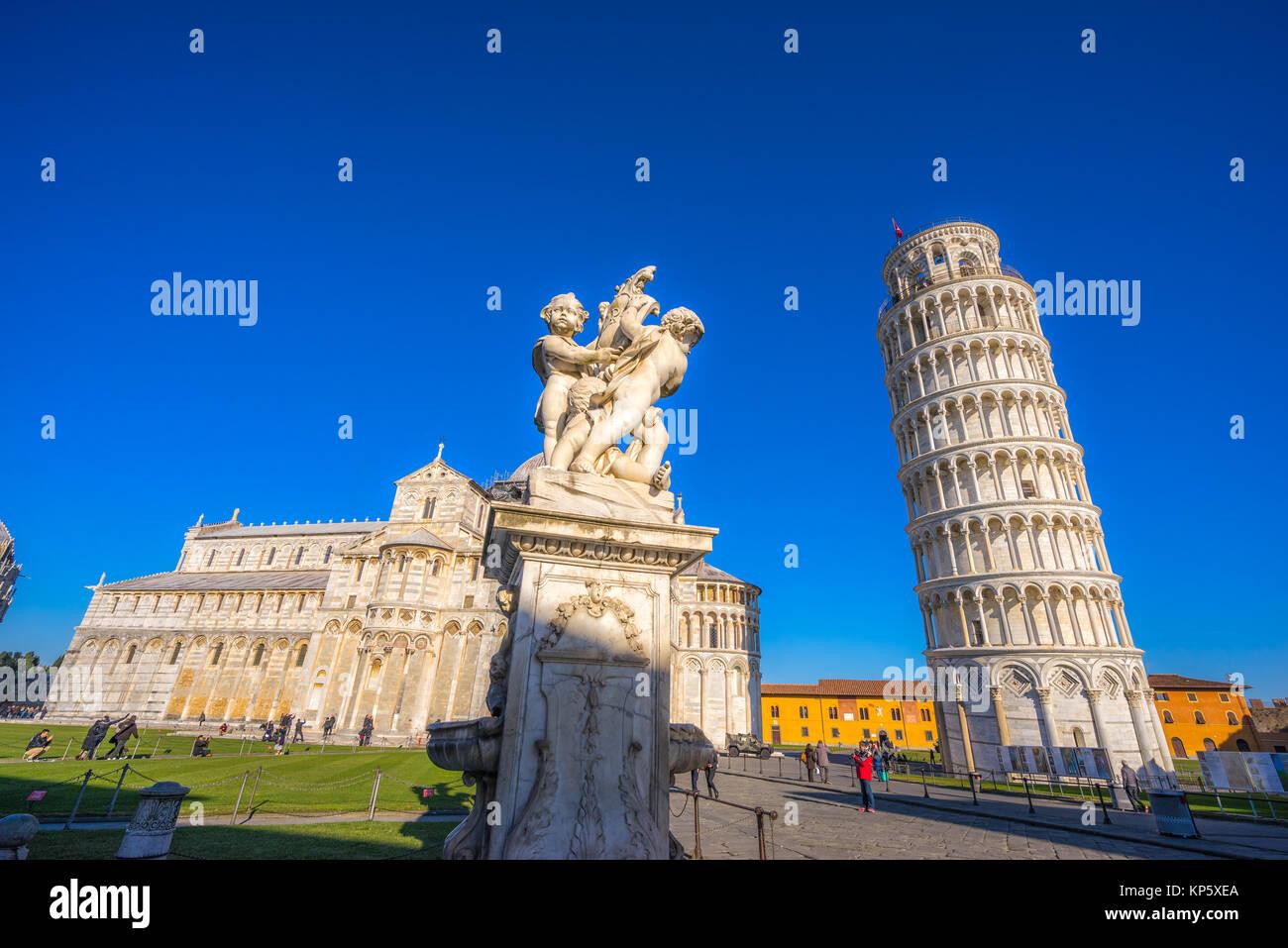 Pisa, der schiefe Turm. Toskana, Italien. Stockbild