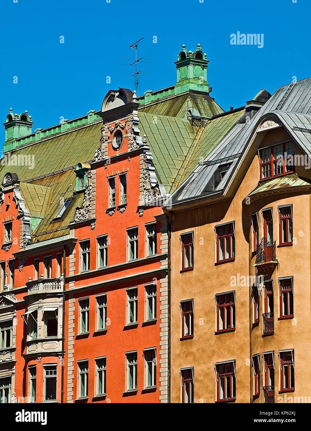 Häuser in Stockholm, Schweden. Stockbild