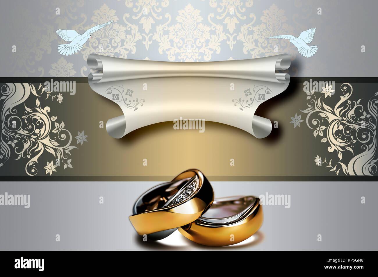 Dekorative Blumen Hochzeit Hintergrund Mit Gold Ringe Und Blattern