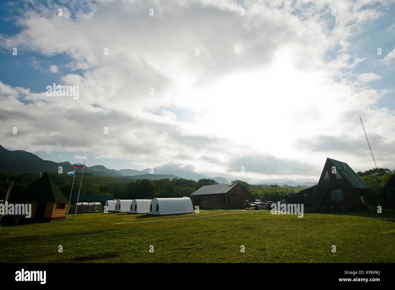 Campingplatz. Kurile See. Kamtschatka. Sibirien. Russland Stockbild