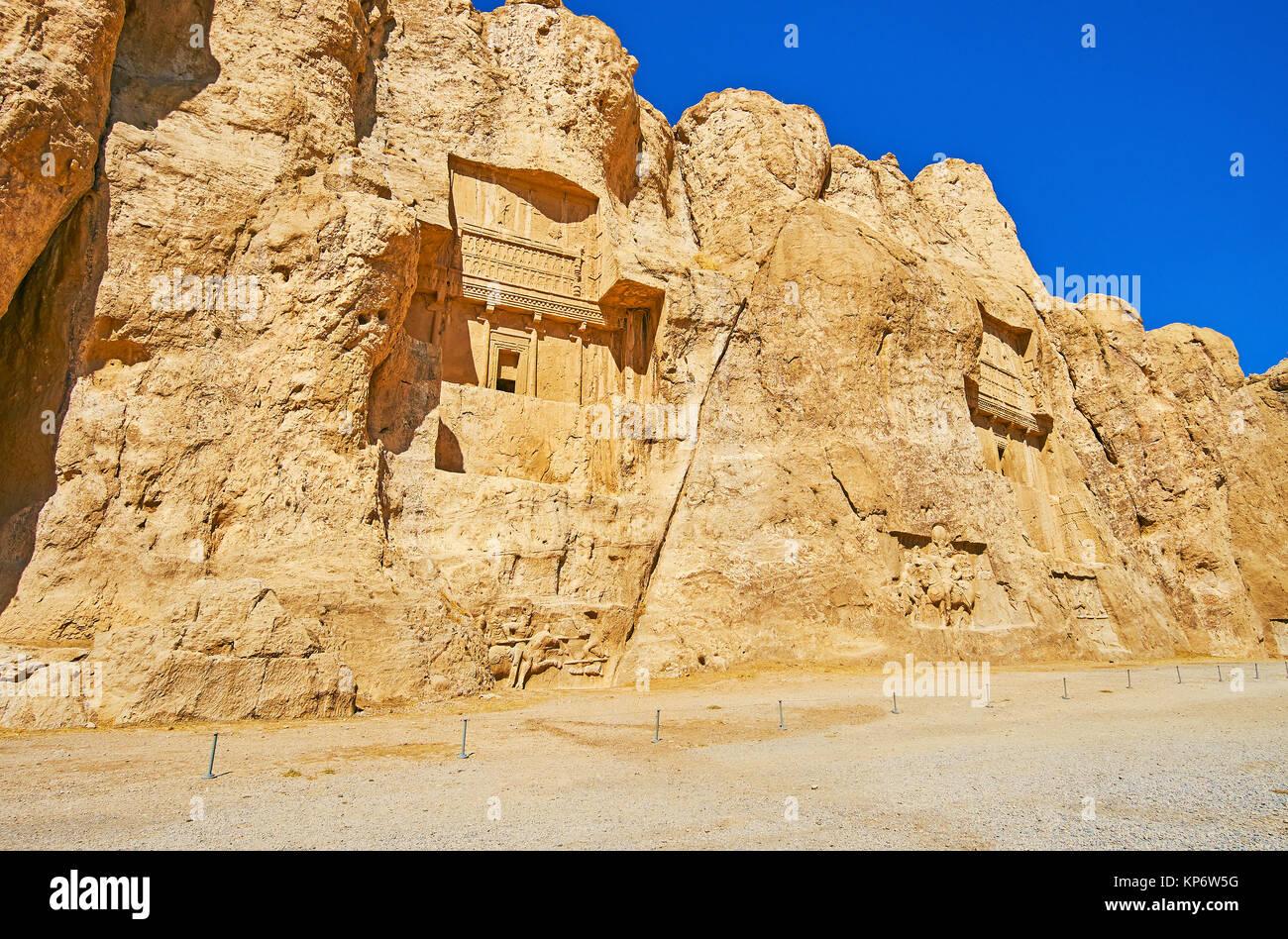 Archäologische Zone Naqsh-e Rustam Nekropole ist der berühmte touristische Destination mit gut erhaltenen Stockbild