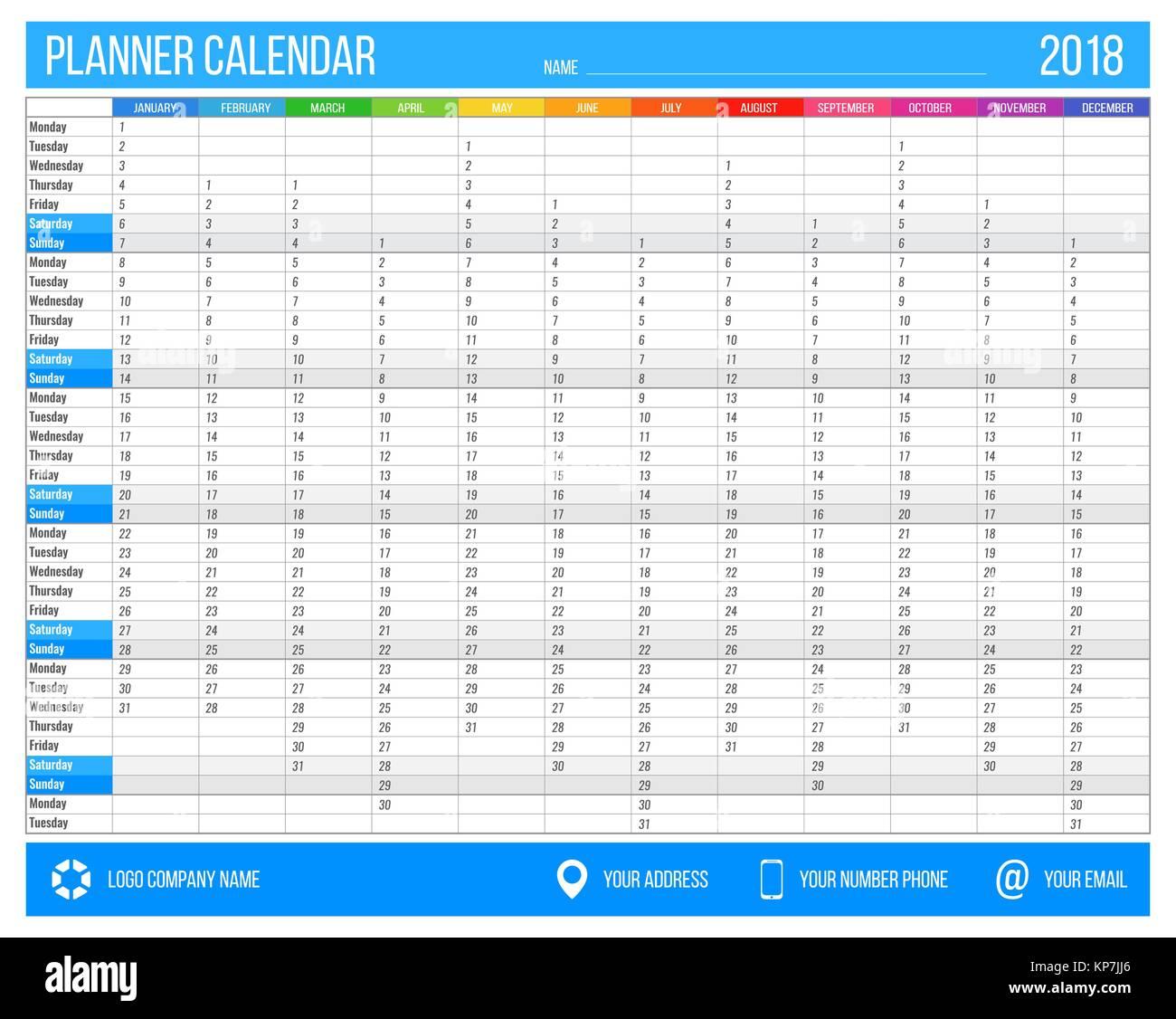 Englisch Kalender Planer für das Jahr 2018. 12 Monate, Corporate ...