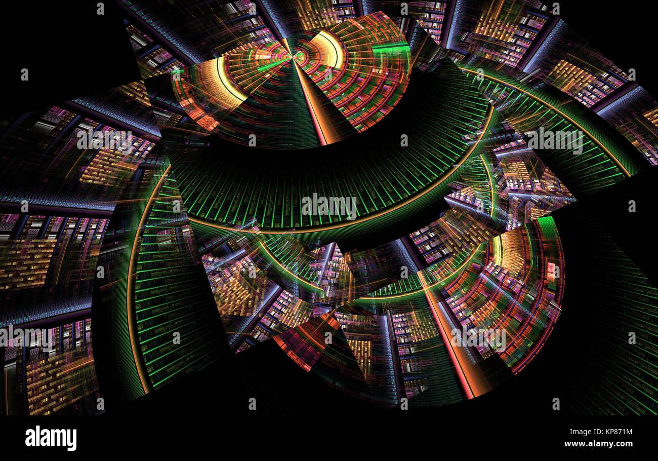 Abstraktes fraktale computer-generierten tech Hintergrund Stockbild
