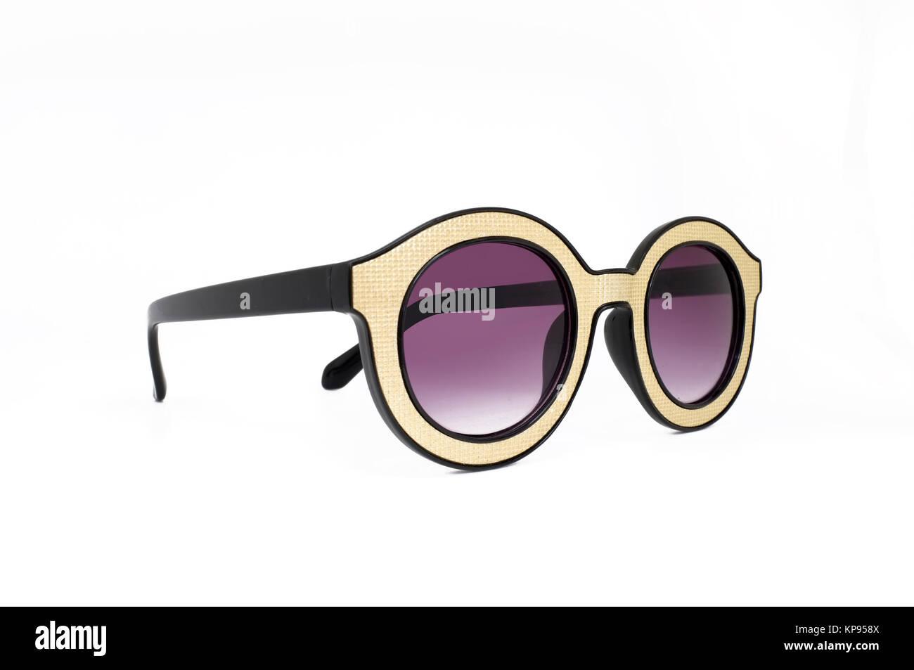 Gelbe Retro, Vintage Brille, Auge tragen schwarz und goldenen Rahmen ...