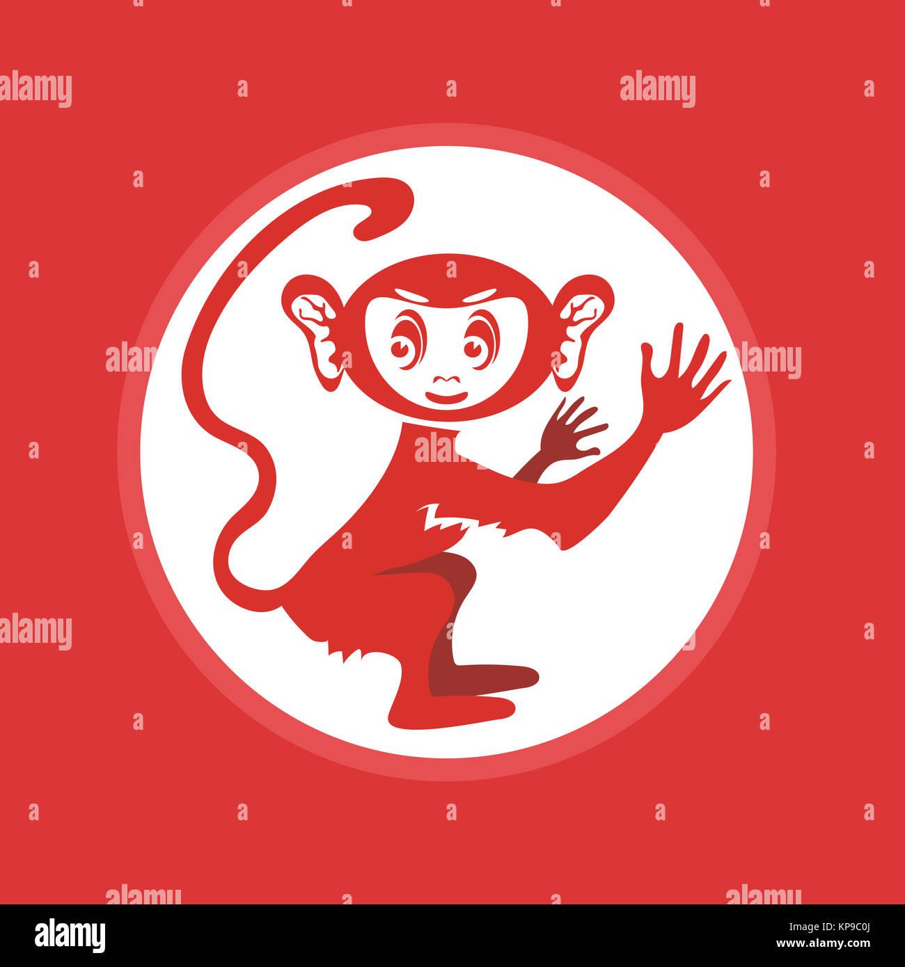 Red Monkey-Symbol. Symbol des neuen Jahres Stockfoto, Bild ...