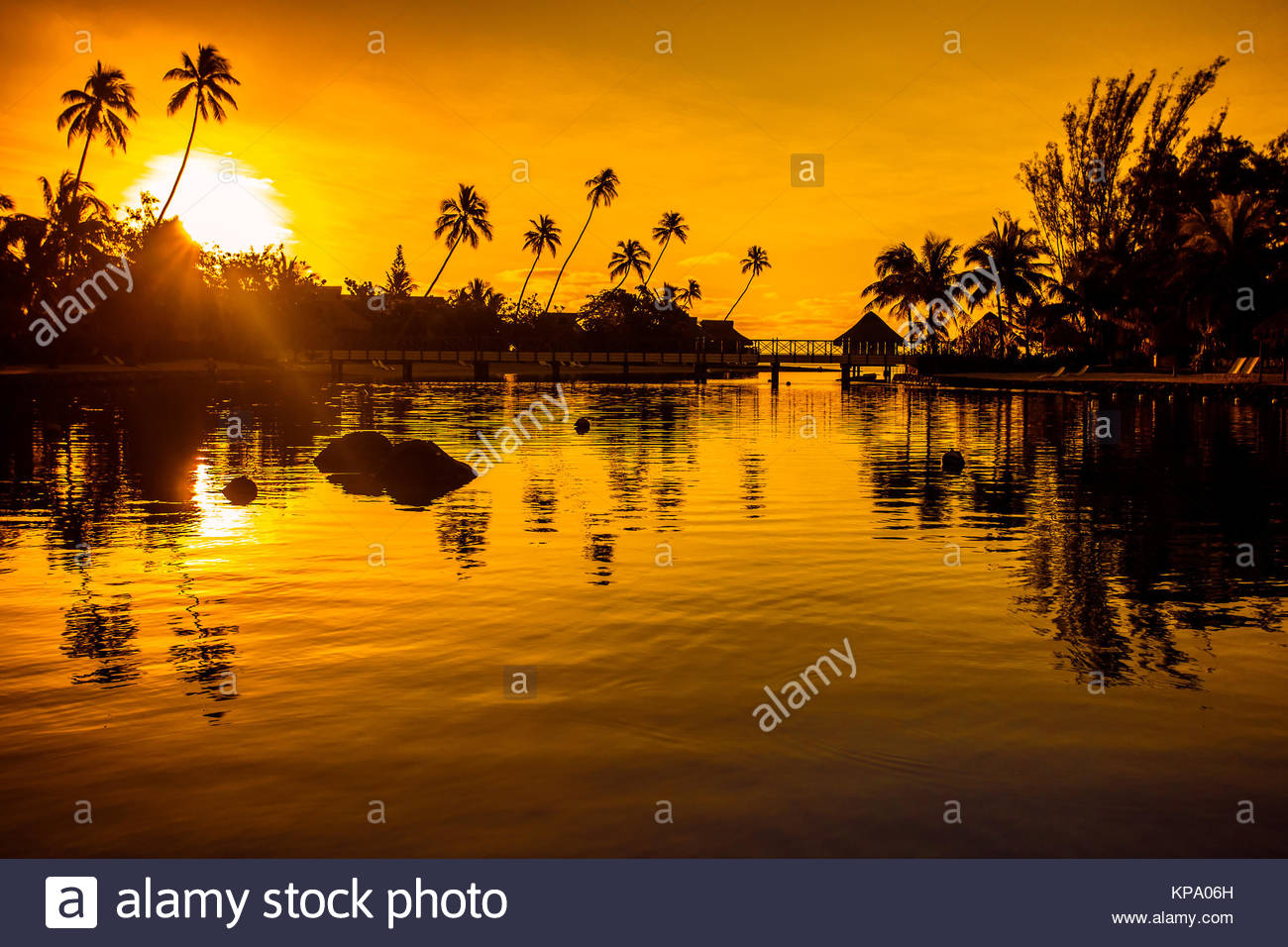 sonnenuntergang in ein tropisches paradies mit palmen stockfoto bild 168635449 alamy. Black Bedroom Furniture Sets. Home Design Ideas