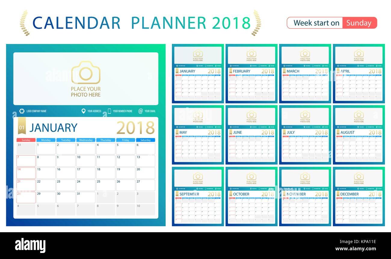 Englisch Kalender Planer für das Jahr 2018, Woche Sonntag. Set mit ...
