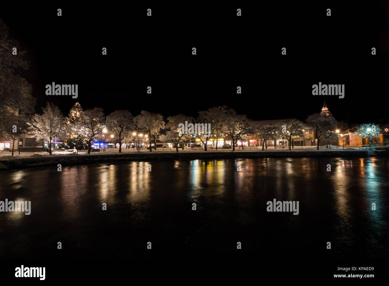 Nacht in der Stadt von Filipstad, Schweden. Dezember, 2017 Stockbild