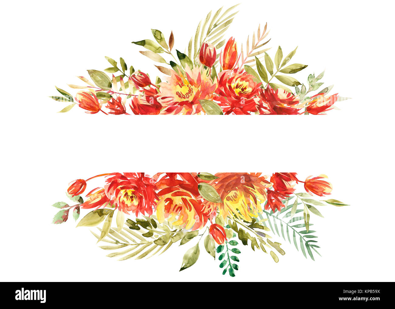 Schönen aquarell Grenze Rahmen mit Pfingstrose, Blume, Blattwerk ...