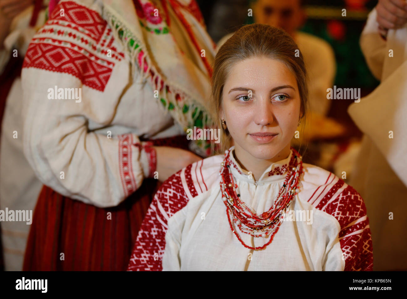 Belarus Gomel Folk Museum 26 11 2016 Jahr Ritus Vintage Hochzeit