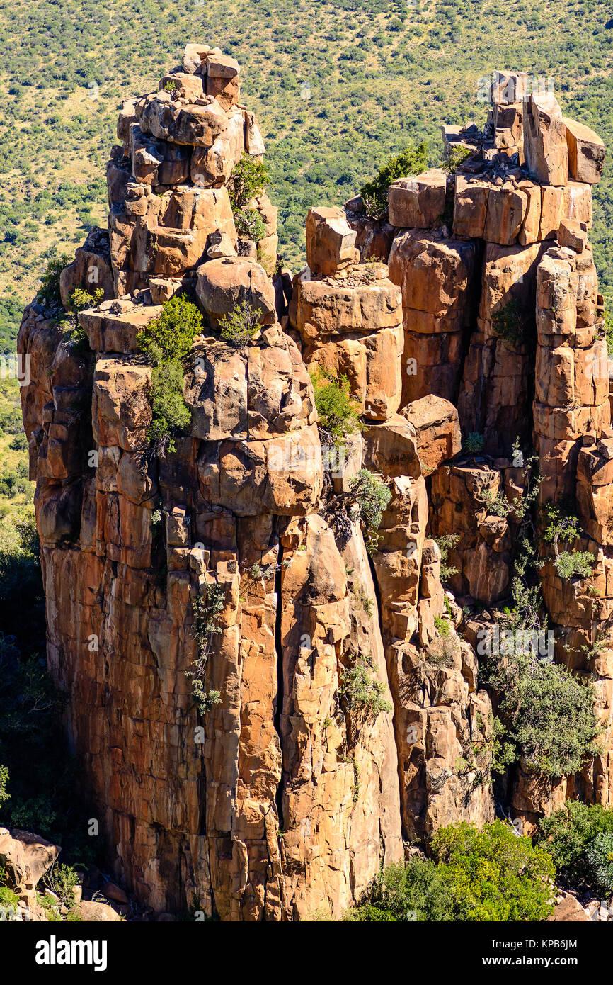 Farbe im Bild von Südafrika Graaff-Reinet, Tal der Verwüstung, beeindruckenden bizarren Felsen und Steine Stockbild