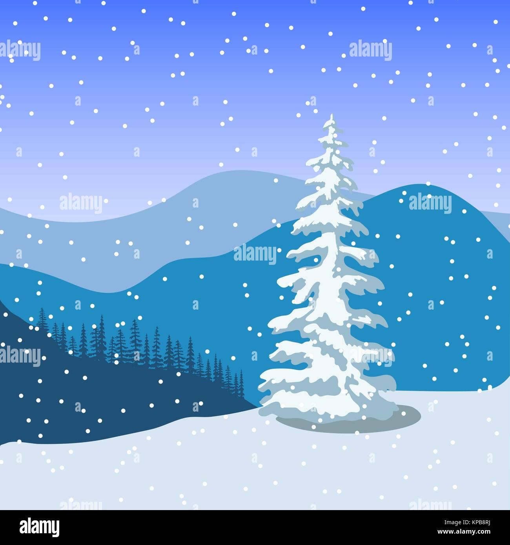Winter Weihnachten Landschaft mit Silhouetten der Berge, Schnee und ...