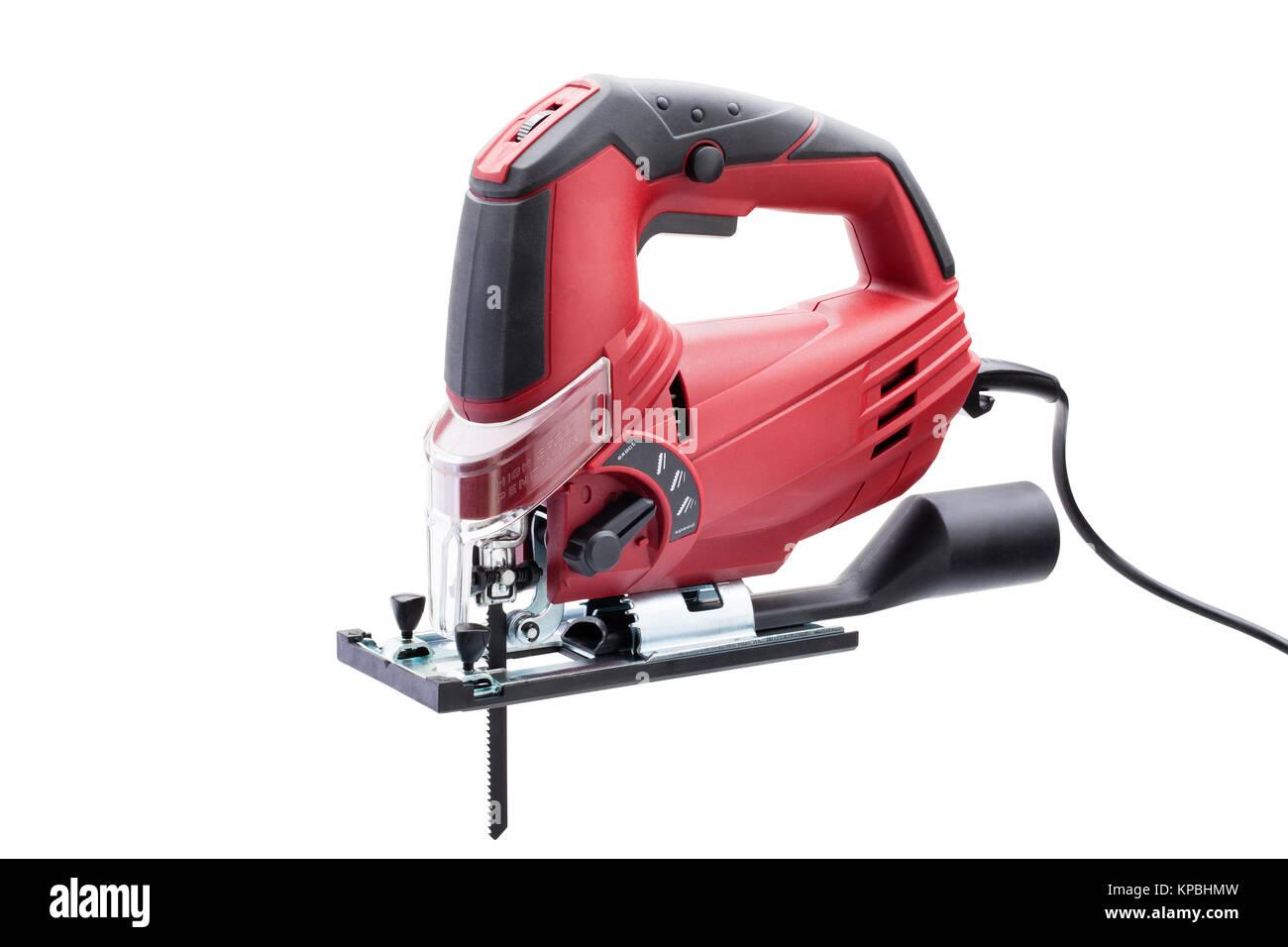 rote elektrische laubsäge stockfoto, bild: 168671129 - alamy