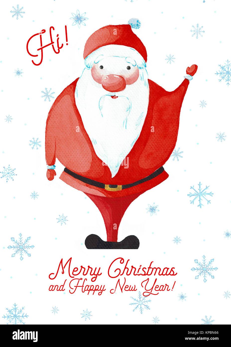 Cartoon Santa Claus Gemalte Aquarell Auf Weissem Hintergrund