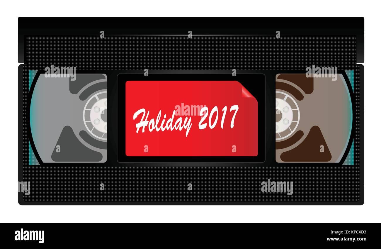 Eine typische altmodische Videokassette über einen weißen Hintergrund mit Urlaub 2017 Stockbild