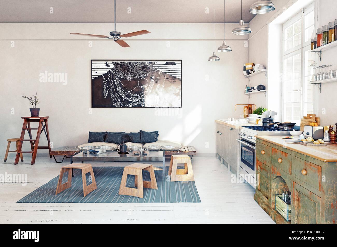 Modernes Design Küche Interieur. 3D-rendering Konzept Stockfoto ...