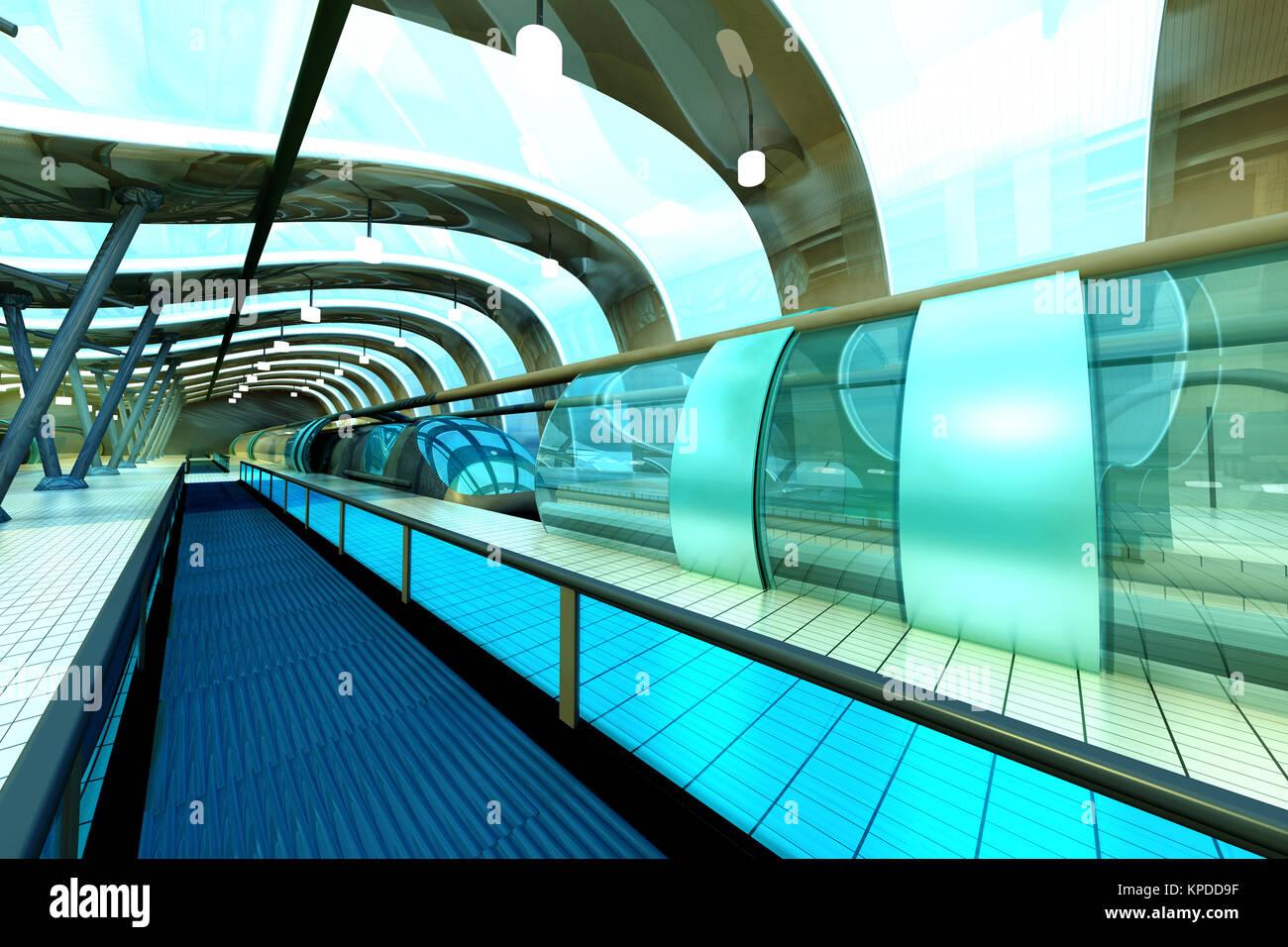 Eine futuristische u bahn oder zum bahnhof 3d architektur visualisierung stockfoto bild - Futuristische architektur ...