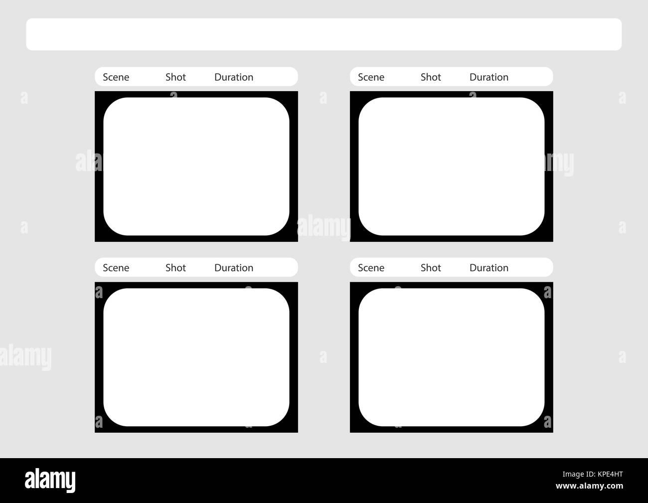 Das traditionelle Fernsehen 4 Frame storyboard Vorlage Stockfoto ...