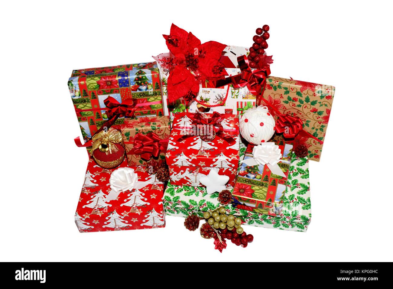Weihnachten Geschenke in Boxen und Taschen, die in thematische ...