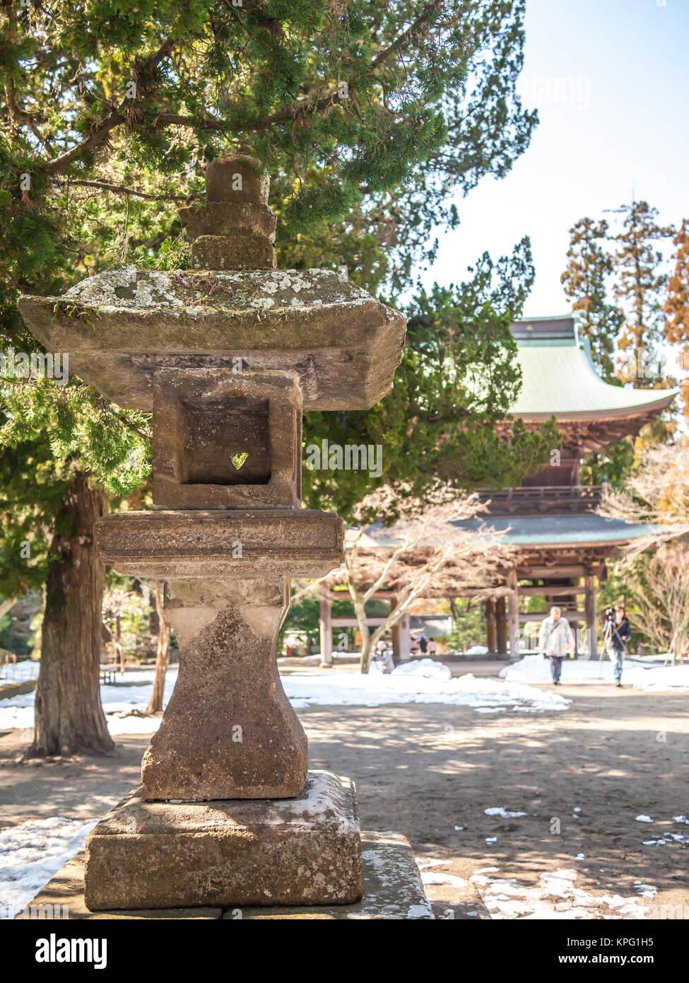 Traditionelle Japanische Stein Laterne In Der Engaku Ji