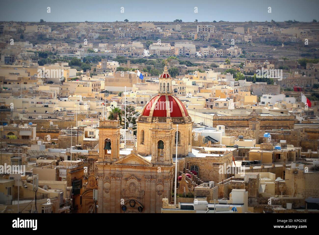 Blick auf die Stadt Victoria oder Rabat auf Gozo, die benachbarte Insel Malta Stockbild