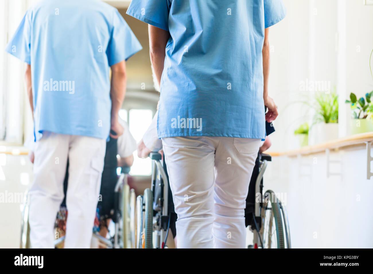 Betreuer Push Senioren Im Rollstuhl Von Altenheim Stockfoto Bild