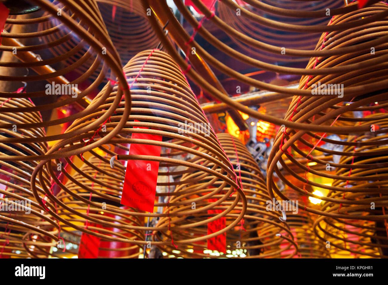Südost-Asien, China, Hong Kong, Spirale Räucherstäbchen an Man Mo ...