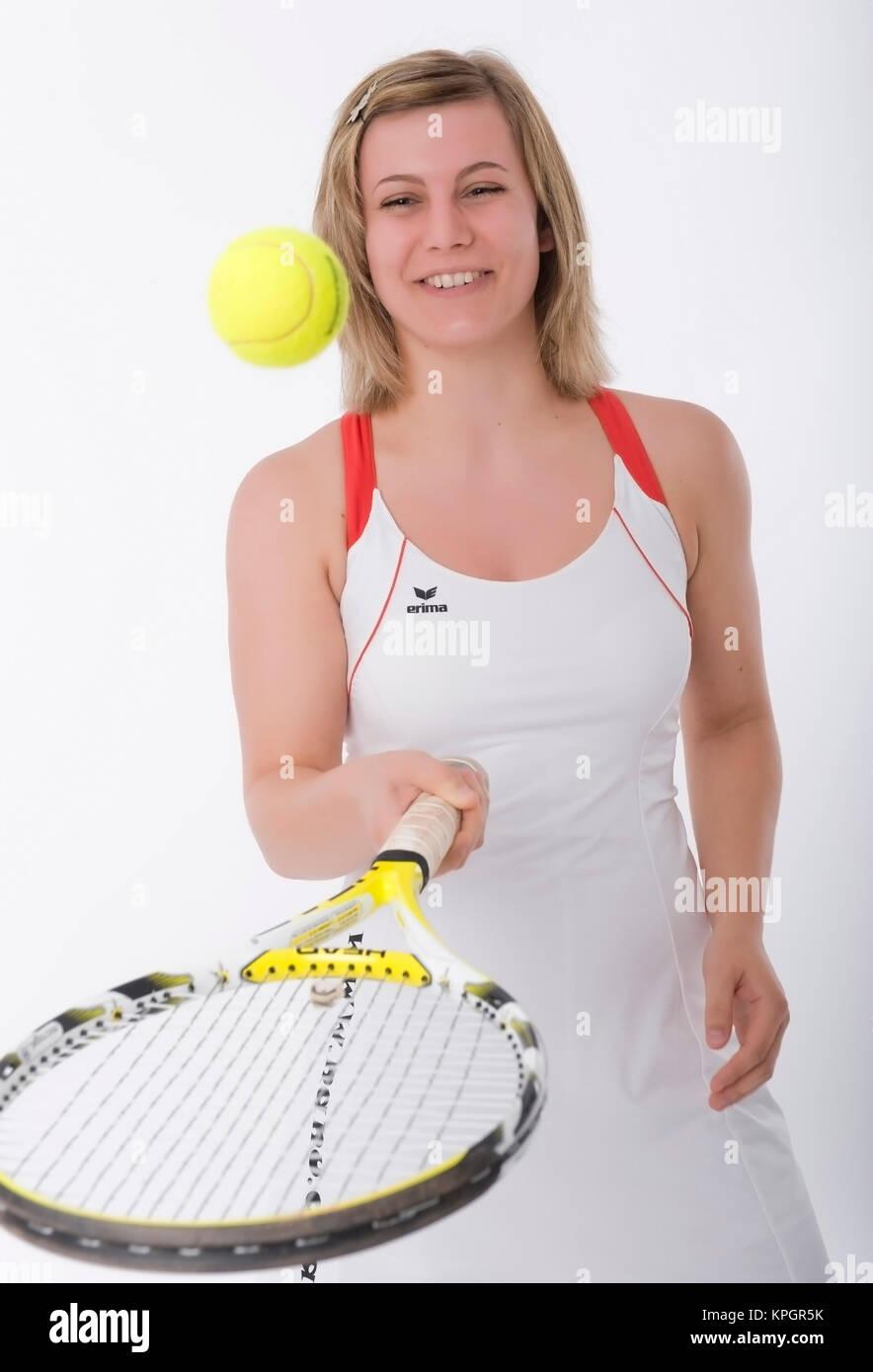Model Release, Jugendliche Tennisspielerin - junge Tennisspieler Stockbild