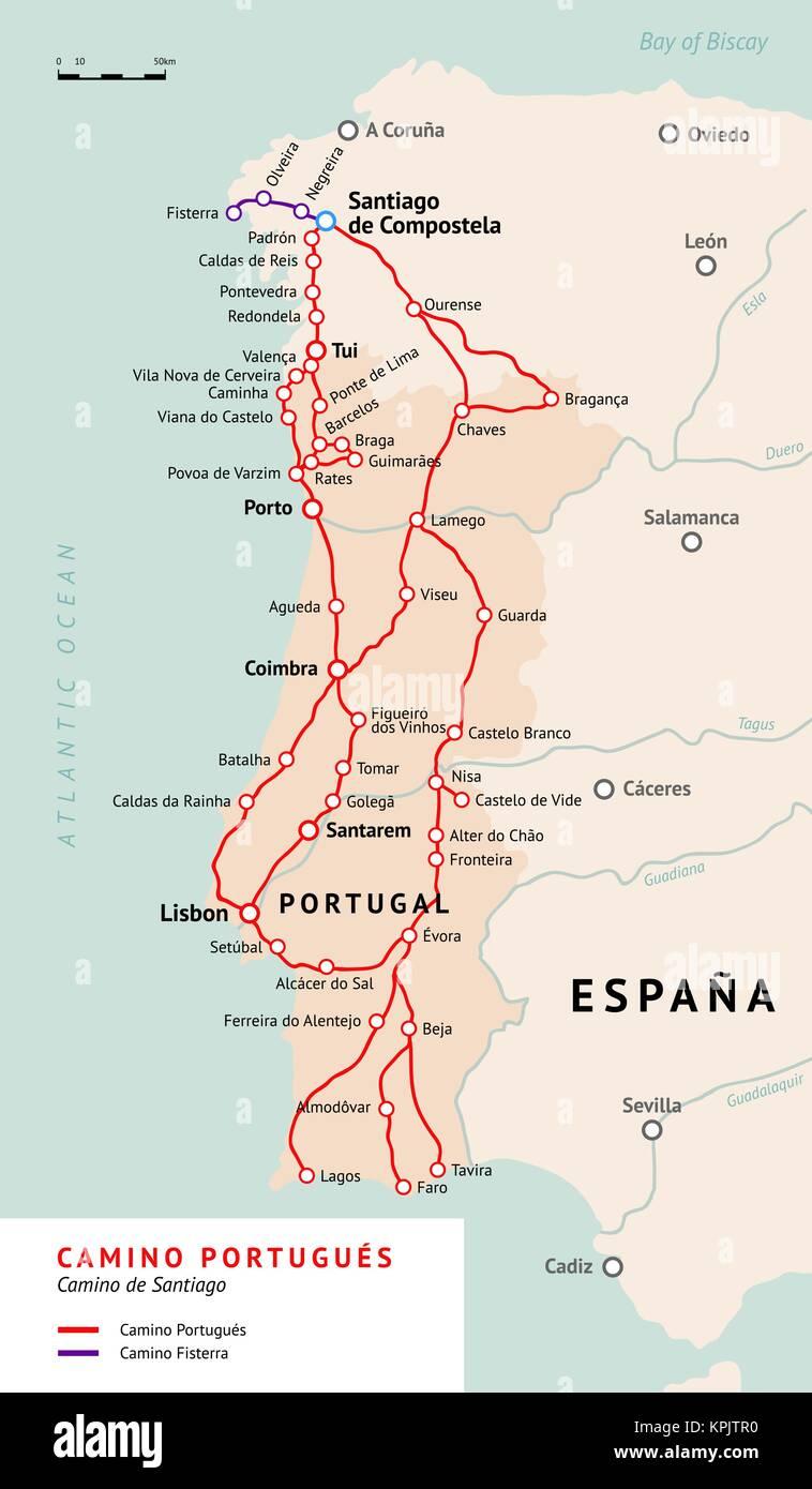 Camino Portugues Karte.Camino Portugués Karte Camino De Santiago Oder Dem Jakobsweg Alten